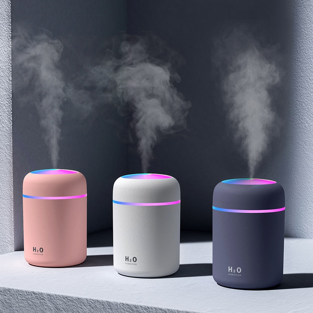 Portable 300ml Air Purifier/Humidifier, USB, Ultrasonic, Aroma Diffuser, Cool Mist Maker with Romantic Light