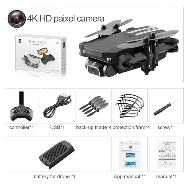 XKJ 2020 New Mini Drone, 4K, 1080P, HD Camera, WiFi, FPV, Altitude Hold, Black And Grey, Foldable RC Drone