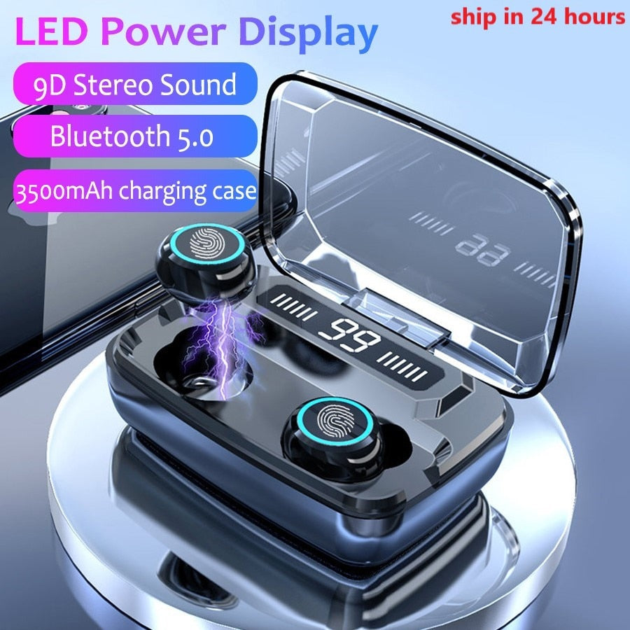 3500mAh LED Bluetooth Wireless Headphones / Earbuds, TWS, Touch Control, Sweat Resistant, Noise Cancellation