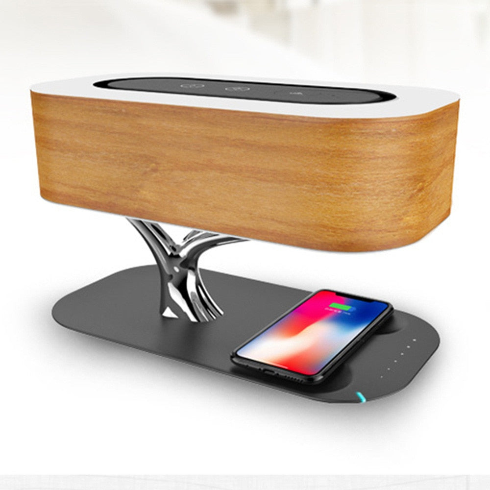 Stylish Bedside Lamp with Bluetooth Speaker, Smart Phone Wireless Charging Multi-Function Lamp