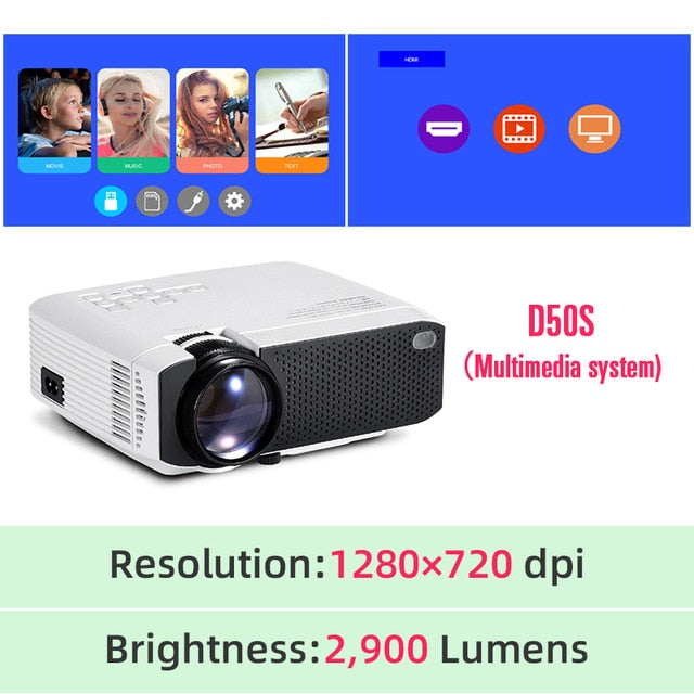 AUN Mini Portable LED Projector, Support 4K, Full HD 1080p, Home Theatre