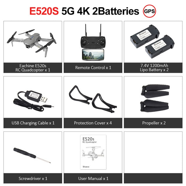 Eachine E520S Drone, 4K, Professional RC Quadcopter, GPS with 5G WIFI, Wide Angle, HD FPV Camera, Foldable