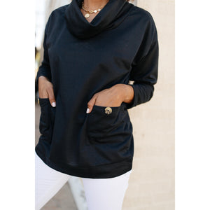 Safe & Sound Cowl Neck In Black