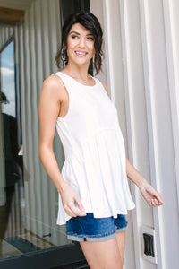 Basic Babydoll Tank In Ivory