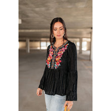 Load image into Gallery viewer, Blooming Rose Striped & Embroidered Blouse