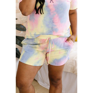 Brushed Knit Tie Dye Shorts In Blue
