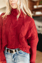 Load image into Gallery viewer, Classic Cable Knit Sweater in Cranberry