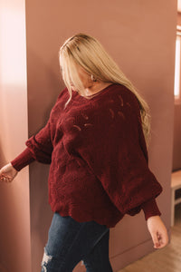 Designed For Details Sweater in Wine