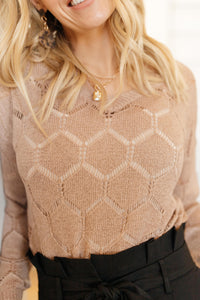 Eden Sheer Top in Mocha