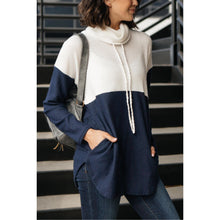 Load image into Gallery viewer, Rise Above Cowl Neck In Blue & White
