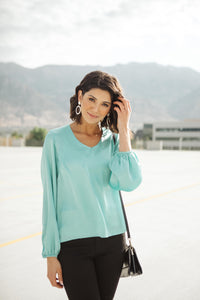 Silky Satin V-Neck Blouse In Aqua