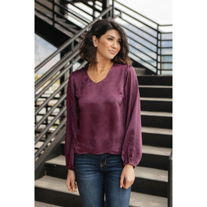 Silky Satin V-Neck Blouse In Aubergine
