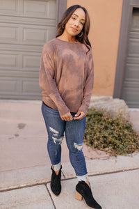 Slouchy Sleeve Top in Mocha