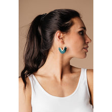 Load image into Gallery viewer, Tasseled V Earrings In FOREST GREEN