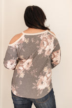 Load image into Gallery viewer, Waffle Meets Floral Top in Charcoal
