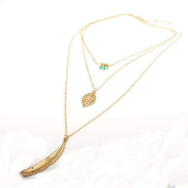Turquoise Leaf Feather Multi Layer Necklace