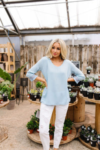 Just In Case Lace Trimmed Blouse In Blue