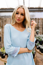Load image into Gallery viewer, Just In Case Lace Trimmed Blouse In Blue