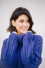 Load image into Gallery viewer, Wintertime Blues Cowl Neck Sweater