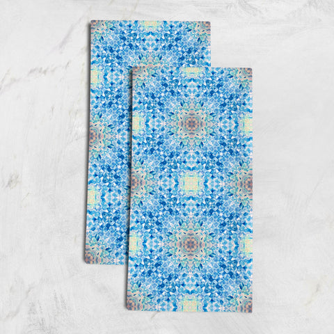 Catalina set of 2 organic cotton hemp tea towels abstract blue watercolor pattern