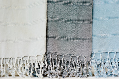 Turkish towels are 100% premium cotton, ethically made and eco friendly. These lightweight, easy to pack towels will never smell bad and last forever. The original towel.