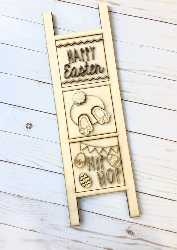 Leaning Ladder Decor, Spring Easter Bunny Butt