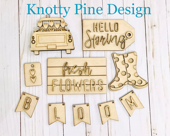 DIY Spring Floral Truck Tiered Tray Kit