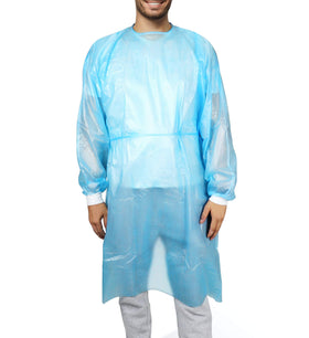 Patient Aid Impervious Isolation Gown - Disposable, Single Use - Coated Polypropylene (PP+PE) 40 GSM - Hospital Quality - FDA Registered Manufacturer