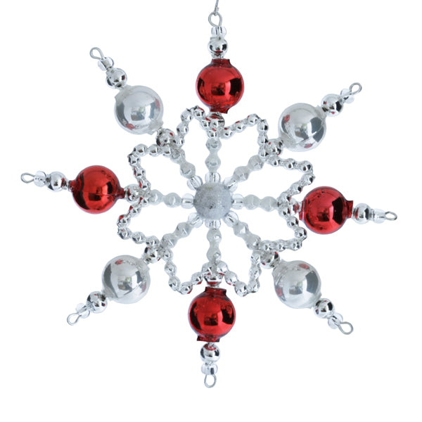 Czech Red, White, and Silver Snowflakes