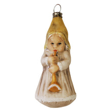 Load image into Gallery viewer, German Glass Angel with Trumpet Ornament