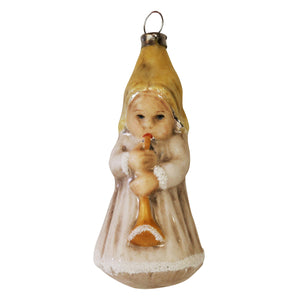 German Glass Angel with Trumpet Ornament