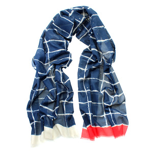 German Scarf – Blue/White Squares