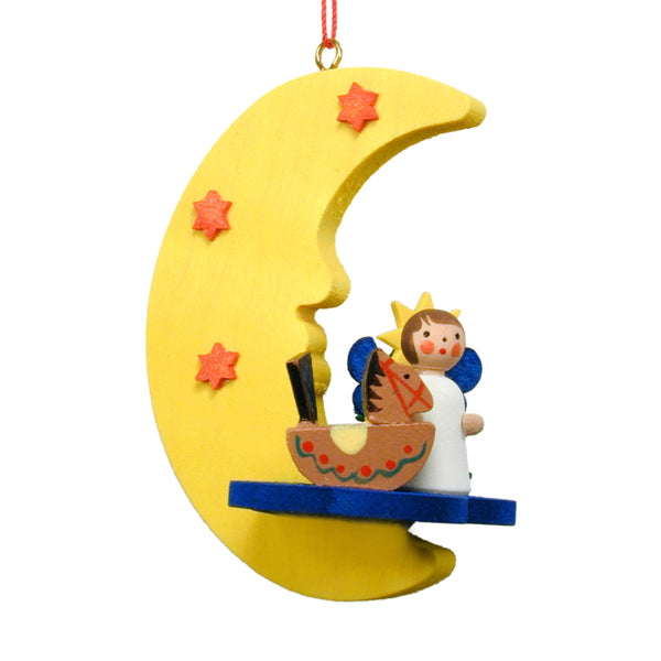 German Angel Swinging on Moon Ornaments