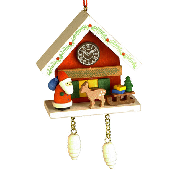 German Santa Claus with Cuckoo Clock Ornaments