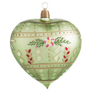 German Green Folk-Art Heart Ornament