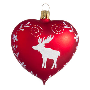German Glass Heart with Moose Ornament