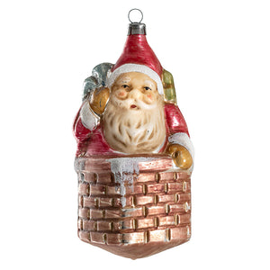 German Glass Santa in Chimney Ornament