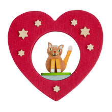Load image into Gallery viewer, German Cat and Heart Ornament
