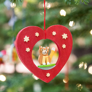 German Cat and Heart Ornament