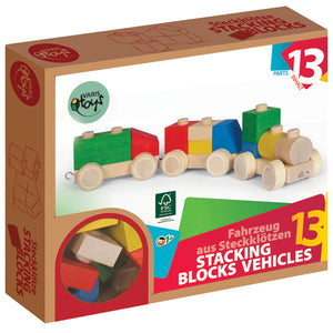 Latvian Wood Train Block Set