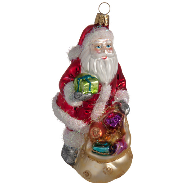 Polish Glass Santa with Gift Bag Ornaments