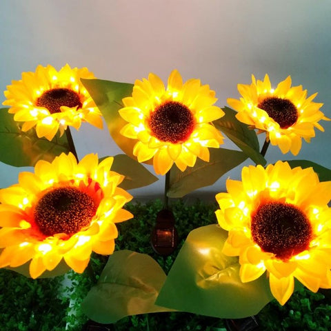 Solar sunflower ground plug light
