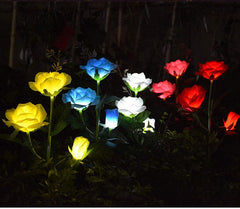 Led 3 head solar rose light