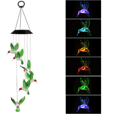 Hummingbird Solar Wind Chimes-Changing Lights Outdoor