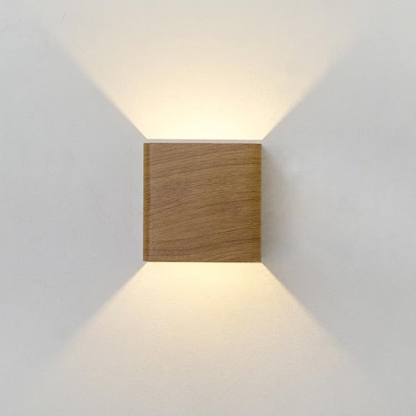 Wood grain LED wall light