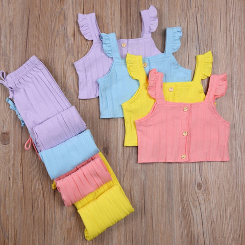 Ruffle Sleeve Ribbed 2 pc Set