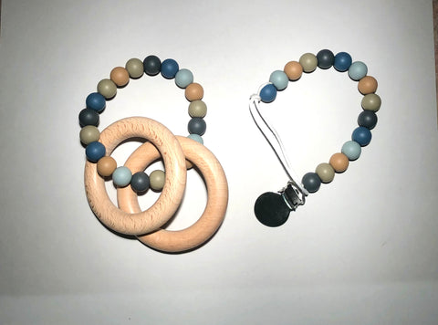 Stone Teether & Pacifier Clip