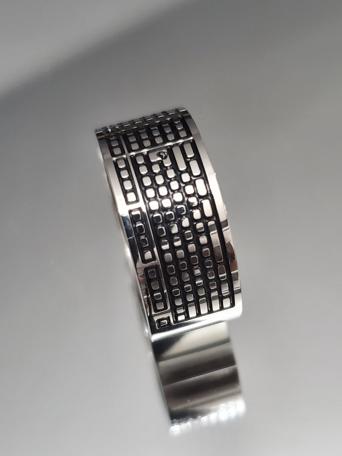 Keyboard Men's Band Stainless Steel 10mm Ring