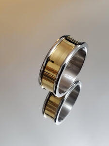 Golden Center Stainless Steel 8mm Yellow Gold Plated Band