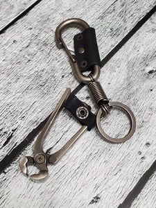 Wire Cutter Stainless Steel & Leather Keychain